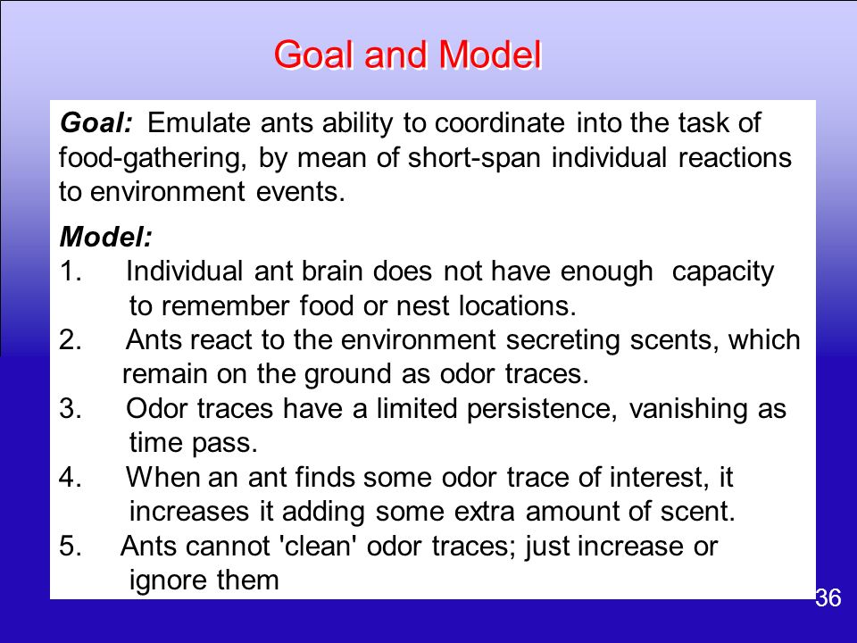 36 Goal and Model Goal: Emulate ants ability to coordinate into the task of food-gathering, by mean of short-span individual reactions to environment