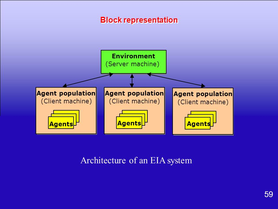 59 Environment (Server machine) Agent population (Client machine) Agents Agent population (Client machine) Agents Agent population (Client machine) Ag