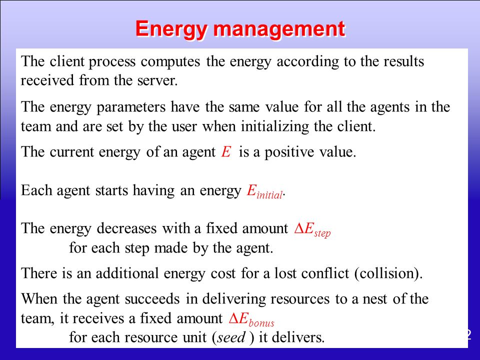62 The client process computes the energy according to the results received from the server. The energy parameters have the same value for all the age