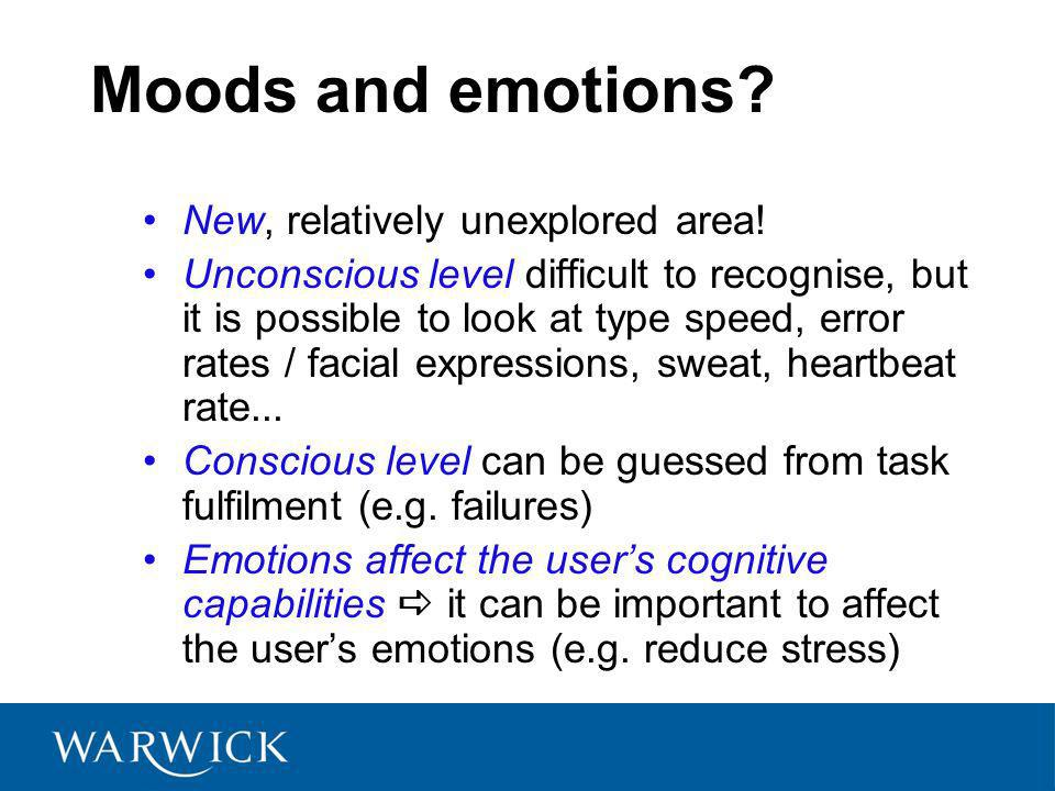 Moods and emotions. New, relatively unexplored area.
