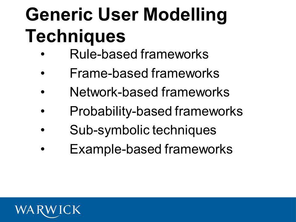 Generic User Modelling Techniques Rule-based frameworks Frame-based frameworks Network-based frameworks Probability-based frameworks Sub-symbolic techniques Example-based frameworks