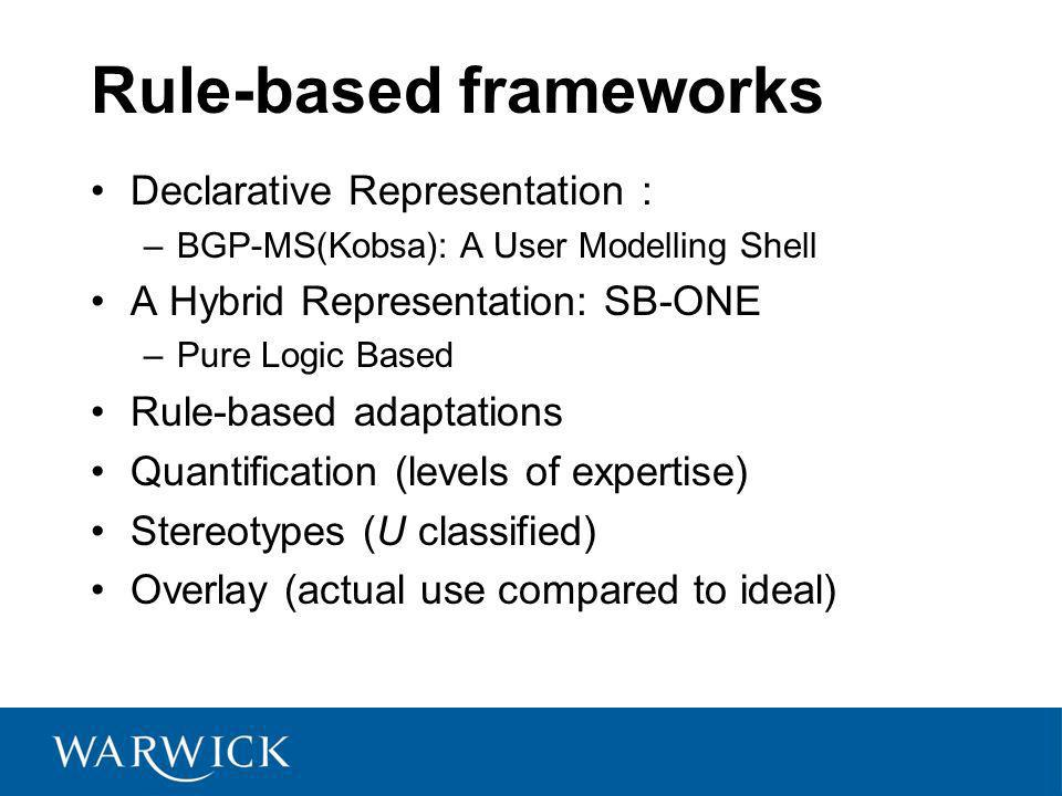 Rule-based frameworks Declarative Representation : –BGP-MS(Kobsa): A User Modelling Shell A Hybrid Representation: SB-ONE –Pure Logic Based Rule-based adaptations Quantification (levels of expertise) Stereotypes (U classified) Overlay (actual use compared to ideal)
