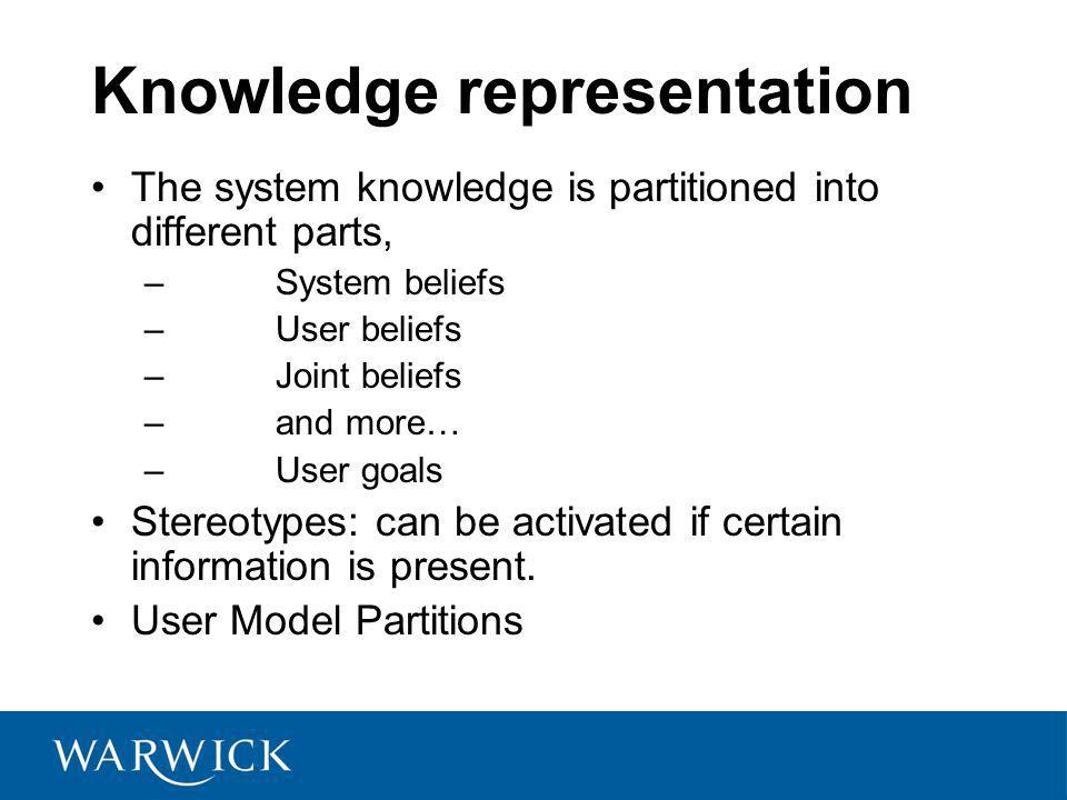 Knowledge representation The system knowledge is partitioned into different parts, – System beliefs – User beliefs – Joint beliefs – and more… – User goals Stereotypes: can be activated if certain information is present.