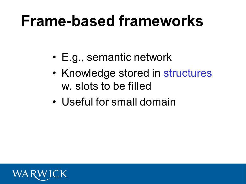 Frame-based frameworks E.g., semantic network Knowledge stored in structures w.