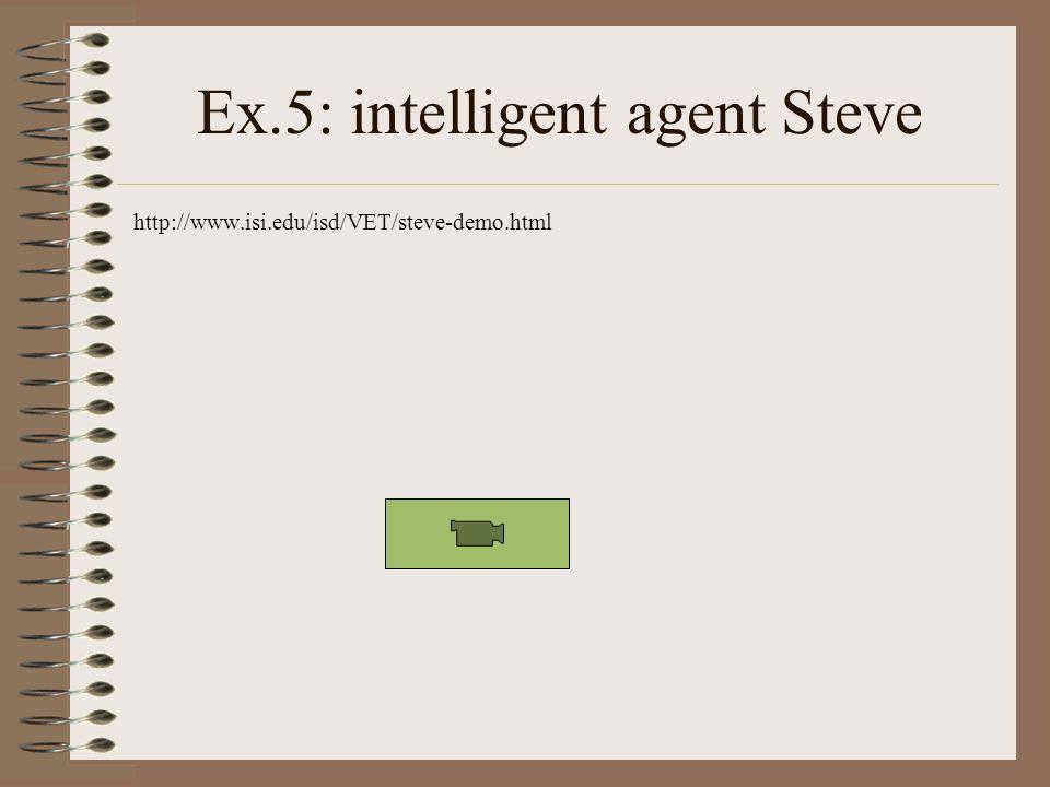 Ex.5: intelligent agent Steve http://www.isi.edu/isd/VET/steve-demo.html