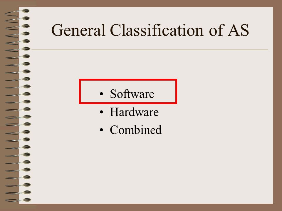 General Classification of AS Software Hardware Combined