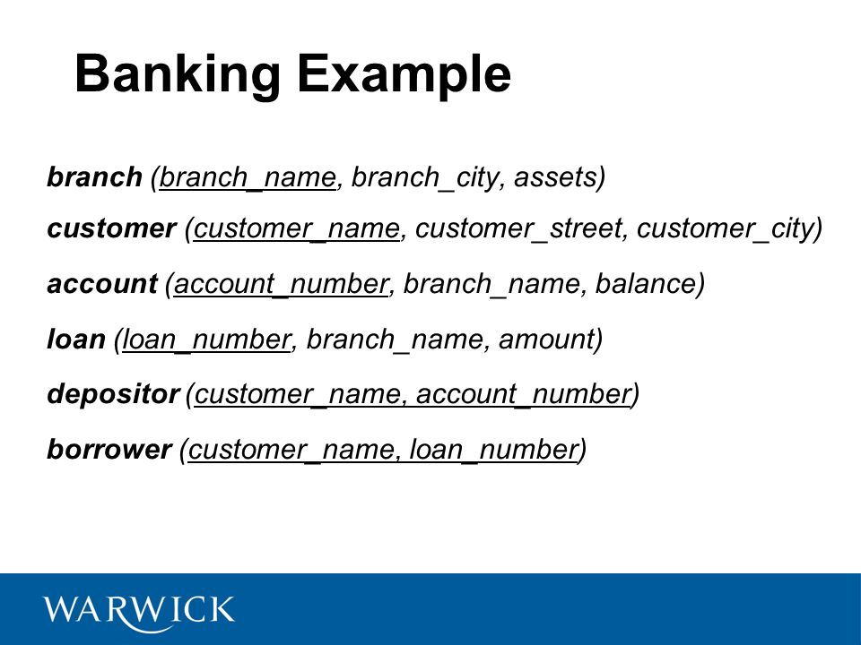 Banking Example branch (branch_name, branch_city, assets) customer (customer_name, customer_street, customer_city) account (account_number, branch_nam