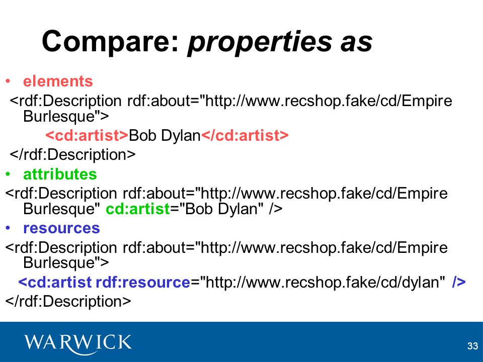 33 Compare: properties as elements Bob Dylan attributes resources