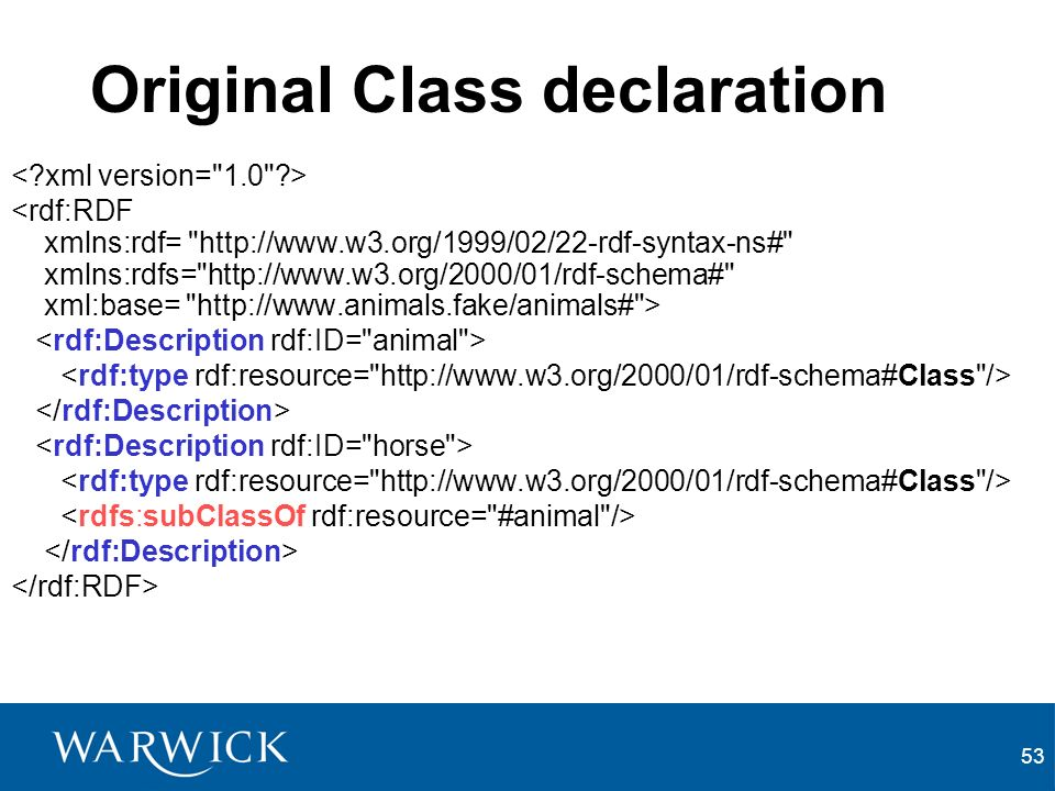 53 Original Class declaration <rdf:RDF xmlns:rdf=