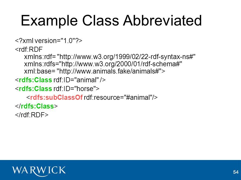 54 Example Class Abbreviated <rdf:RDF xmlns:rdf=