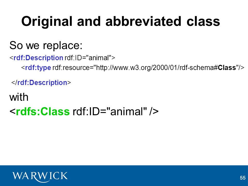 55 Original and abbreviated class So we replace: with