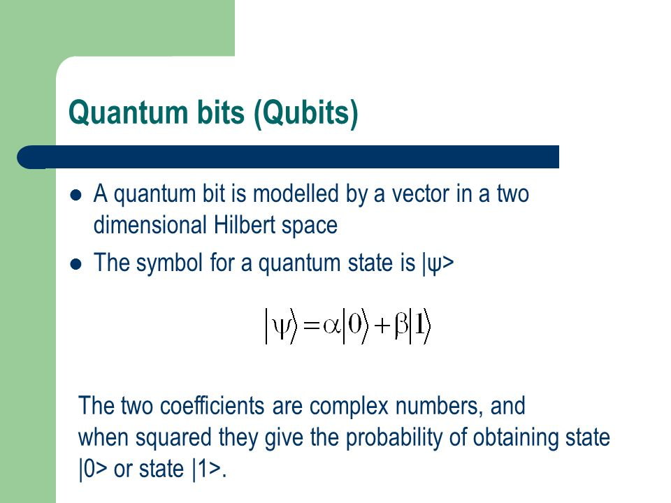 A Register of N qubits The general state of n qubits is The state is represented by a unit vector in an exponentially large Hilbert space.