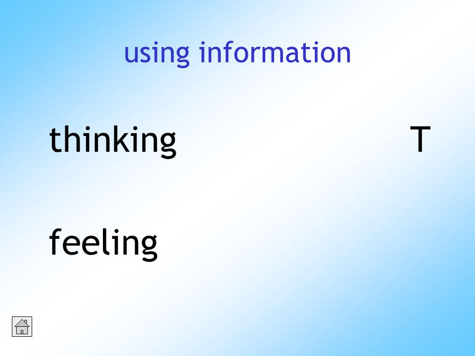 using information thinkingT feeling