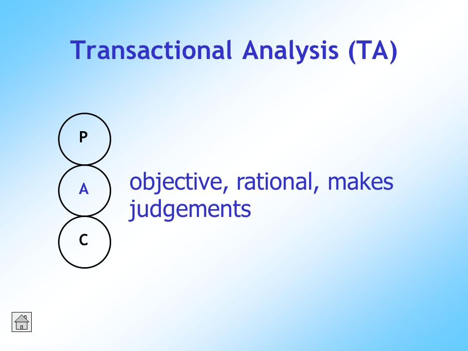 Transactional Analysis (TA) PACPAC objective, rational, makes judgements