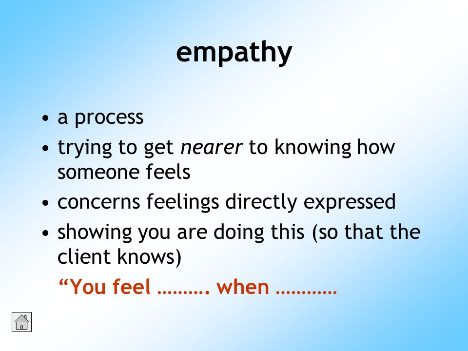 empathy a process trying to get nearer to knowing how someone feels concerns feelings directly expressed showing you are doing this (so that the client knows) You feel ……….