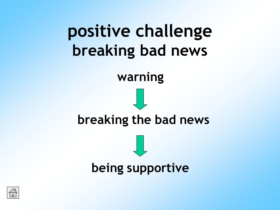 positive challenge breaking bad news warning breaking the bad news being supportive