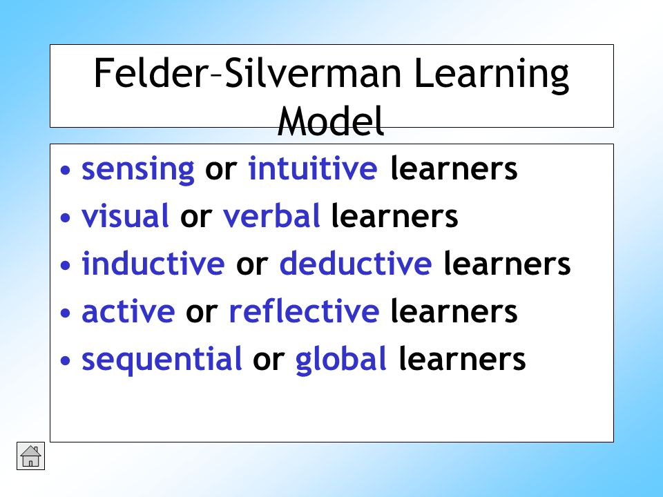Felder–Silverman Learning Model sensing or intuitive learners visual or verbal learners inductive or deductive learners active or reflective learners sequential or global learners