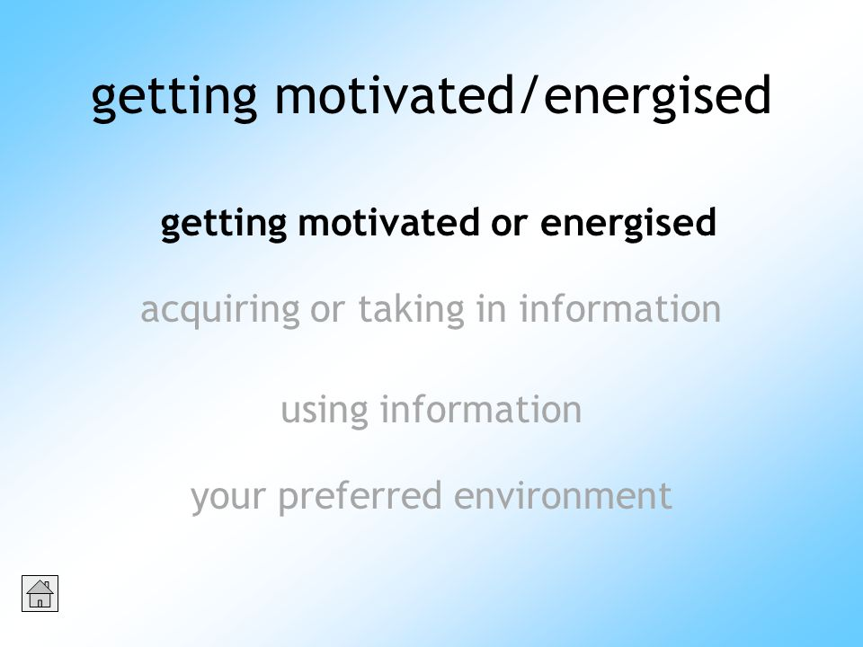 getting motivated/energised acquiring or taking in information using information getting motivated or energised your preferred environment