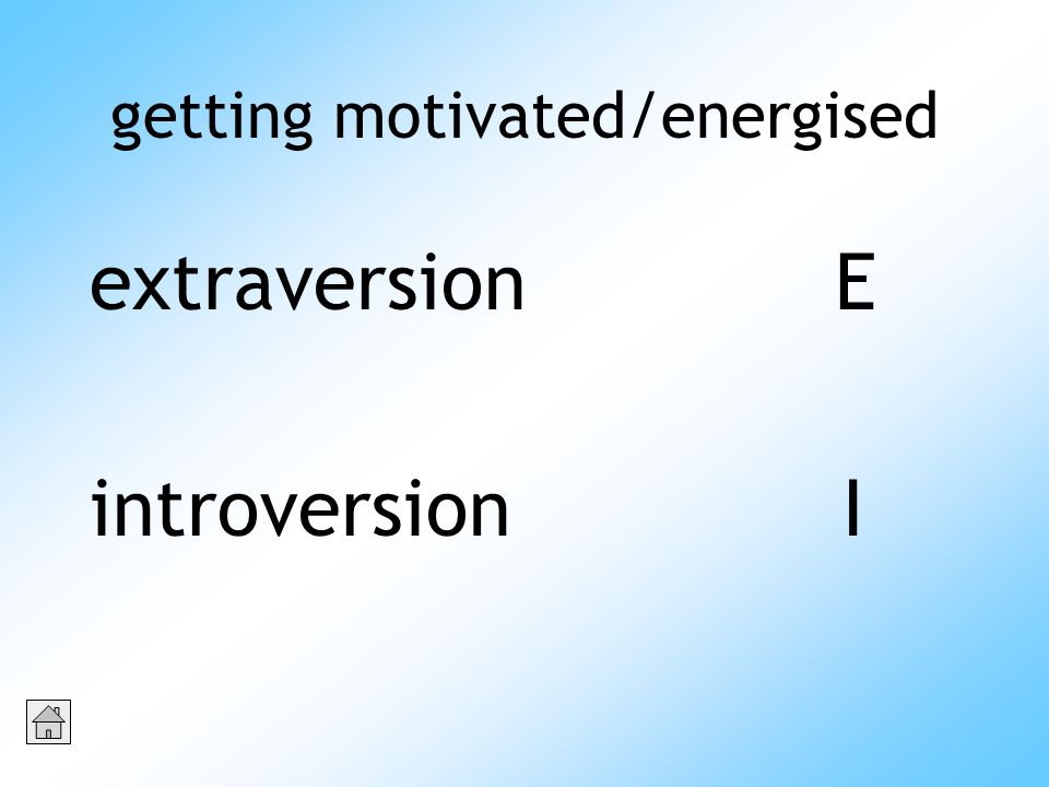 getting motivated/energised extraversion E introversion I