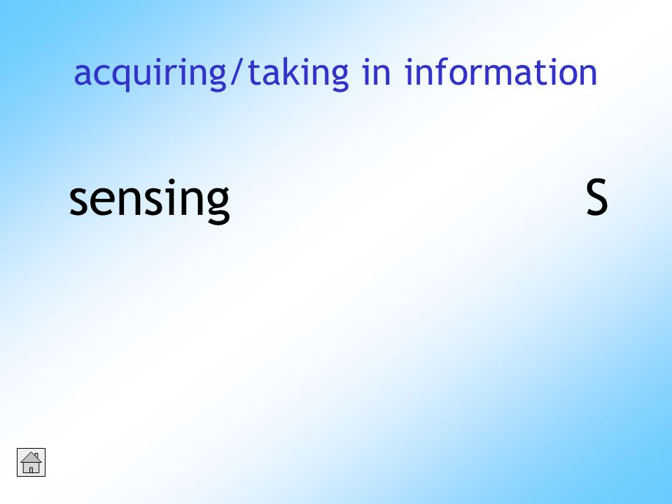 acquiring/taking in information sensingS