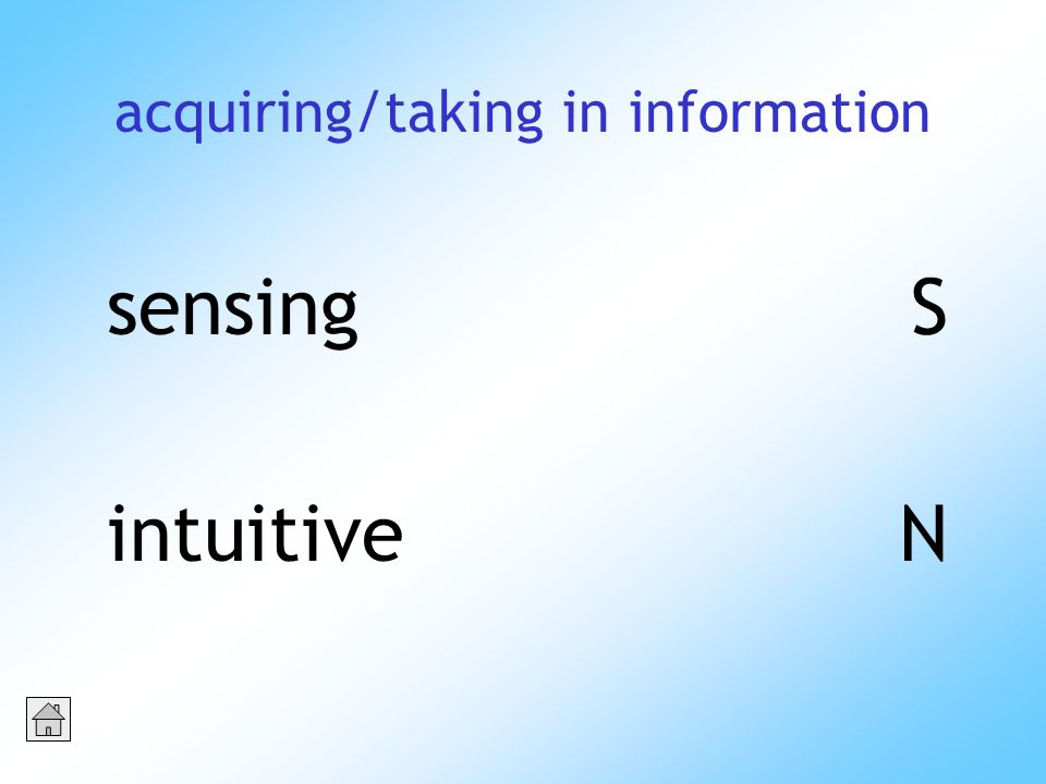 acquiring/taking in information sensingS intuitiveN