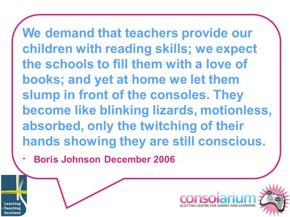 We demand that teachers provide our children with reading skills; we expect the schools to fill them with a love of books; and yet at home we let them slump in front of the consoles.