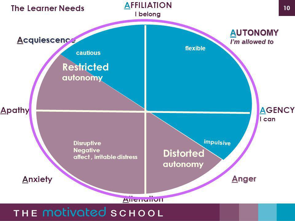 10 flexible impulsive cautious AFFILIATION I belong AGENCY I can AUTONOMY Im allowed to The Learner Needs Alienation Apathy Anxiety Restricted autonomy Distorted autonomy Acquiescence Anger Disruptive Negative affect, irritable distress