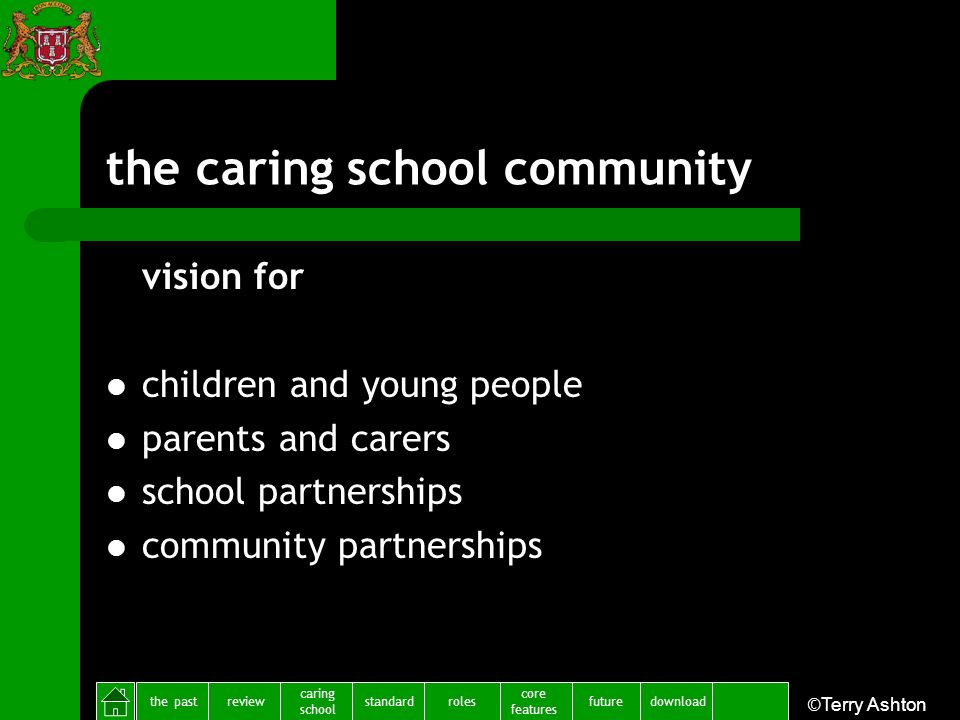 the pastreview caring school standardfuture core features rolesdownload ©Terry Ashton the caring school community vision for children and young people parents and carers school partnerships community partnerships