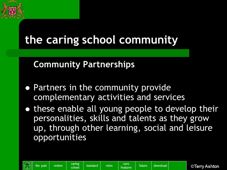 the pastreview caring school standardfuture core features rolesdownload ©Terry Ashton the caring school community Community Partnerships Partners in t