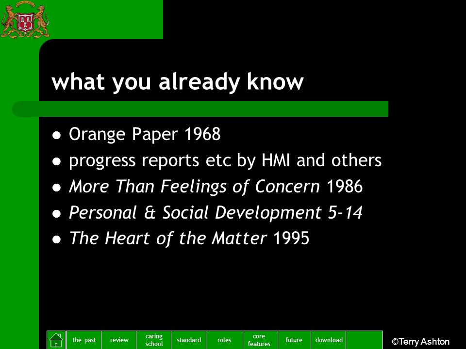the pastreview caring school standardfuture core features rolesdownload ©Terry Ashton what you already know Orange Paper 1968 progress reports etc by
