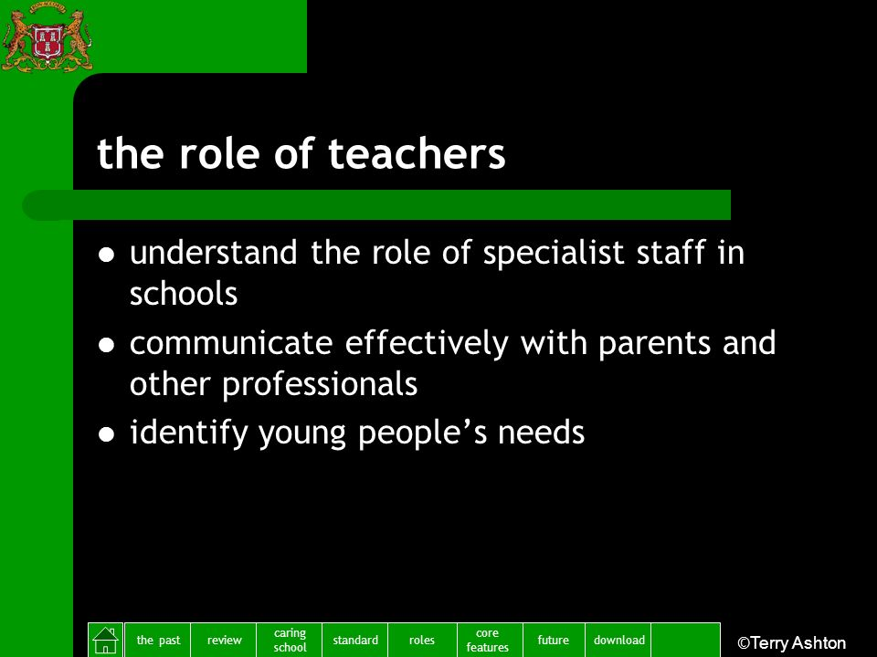 the pastreview caring school standardfuture core features rolesdownload ©Terry Ashton the role of teachers understand the role of specialist staff in schools communicate effectively with parents and other professionals identify young peoples needs