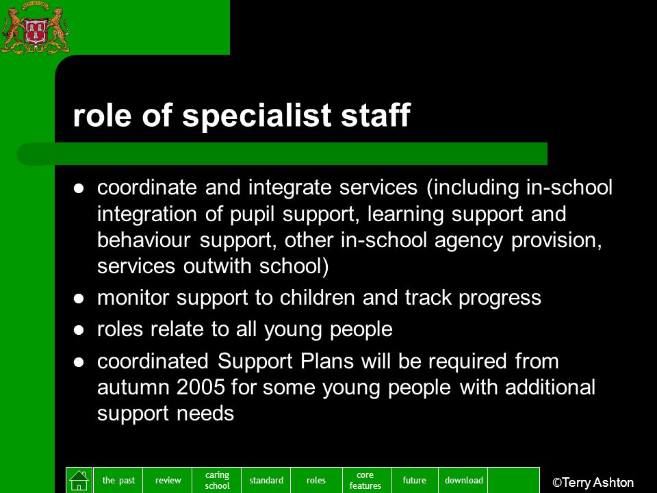 the pastreview caring school standardfuture core features rolesdownload ©Terry Ashton role of specialist staff coordinate and integrate services (including in-school integration of pupil support, learning support and behaviour support, other in-school agency provision, services outwith school) monitor support to children and track progress roles relate to all young people coordinated Support Plans will be required from autumn 2005 for some young people with additional support needs