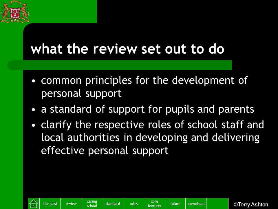 the pastreview caring school standardfuture core features rolesdownload ©Terry Ashton what the review set out to do common principles for the developm