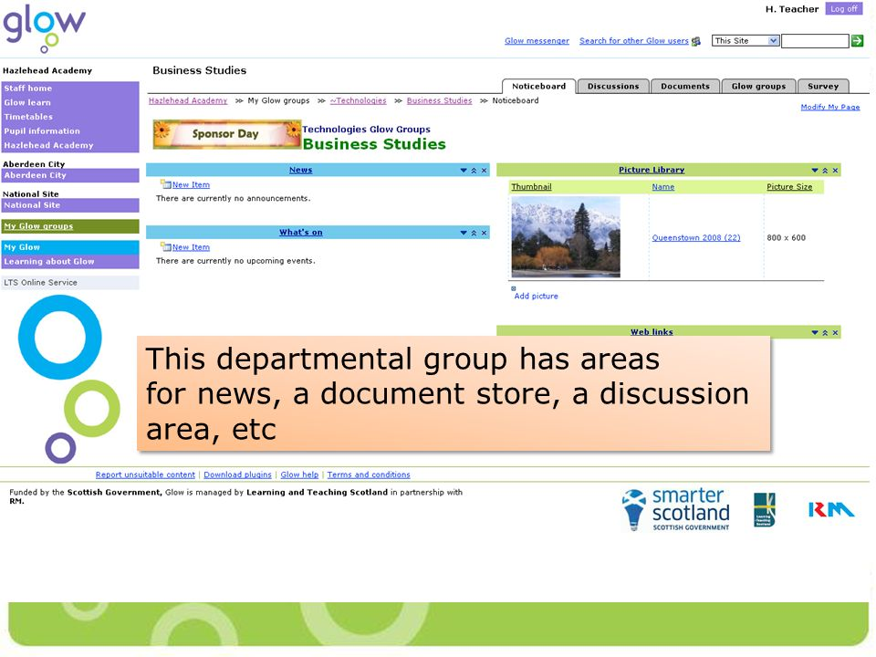 This departmental group has areas for news, a document store, a discussion area, etc This departmental group has areas for news, a document store, a discussion area, etc