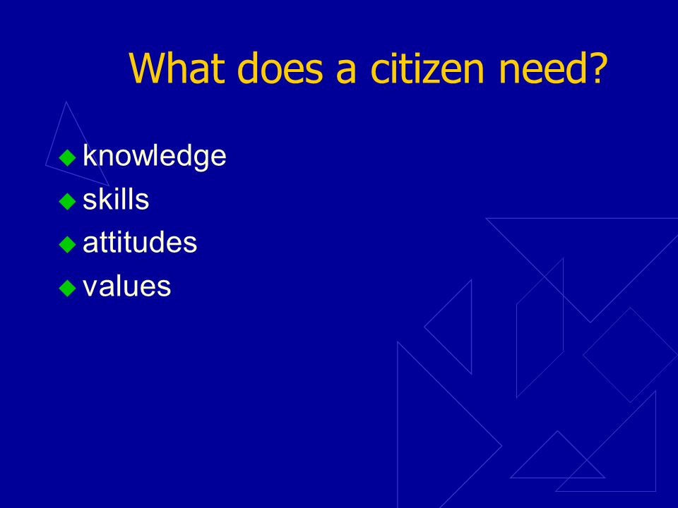 What does a citizen need? knowledge skills attitudes values
