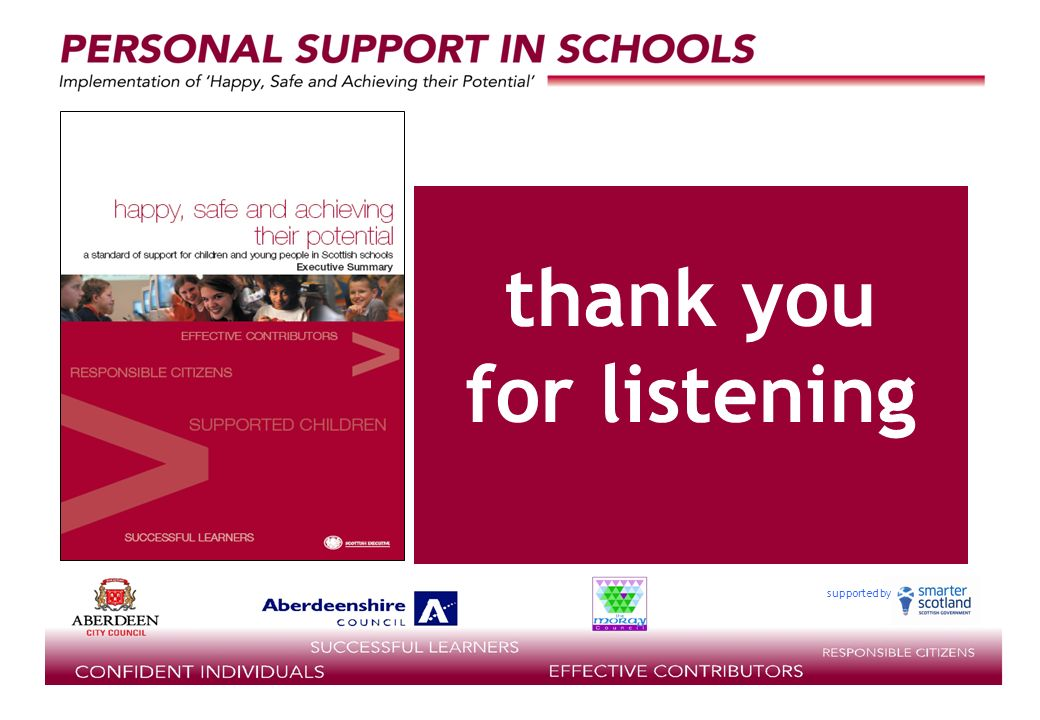 supported by thank you for listening
