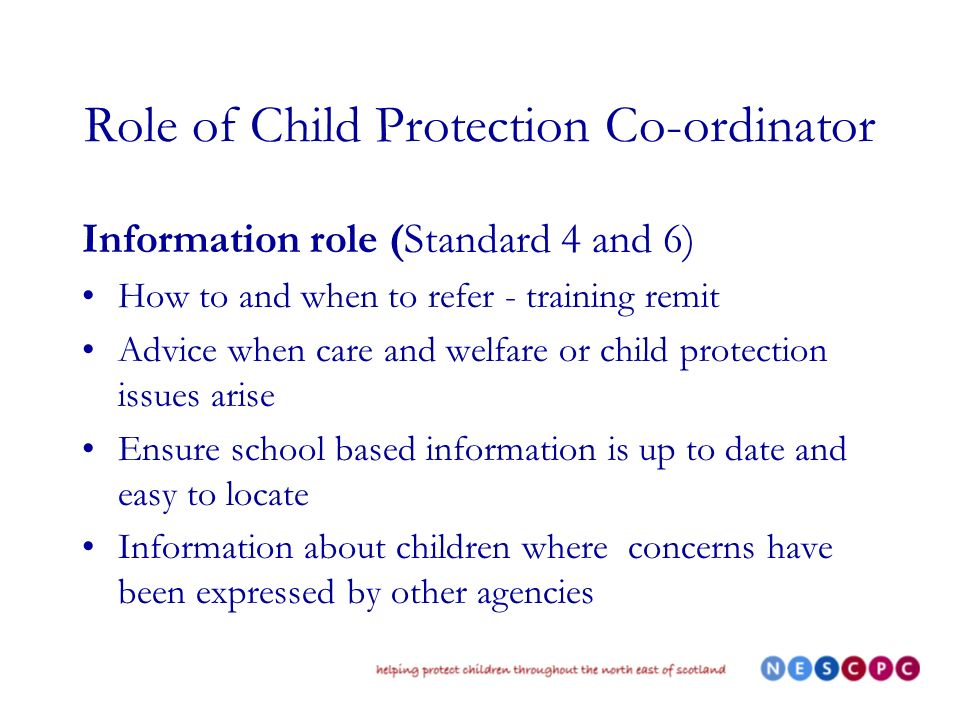 Role of Child Protection Co-ordinator Information role (Standard 4 and 6) How to and when to refer - training remit Advice when care and welfare or child protection issues arise Ensure school based information is up to date and easy to locate Information about children where concerns have been expressed by other agencies