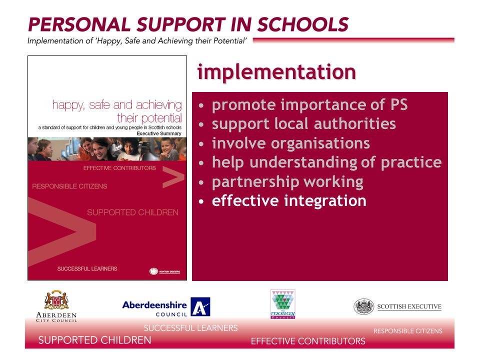 implementation promote importance of PS support local authorities involve organisations help understanding of practice partnership working effective integration