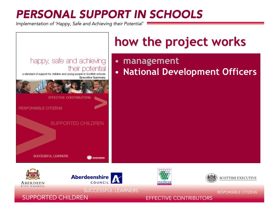 how the project works management National Development Officers