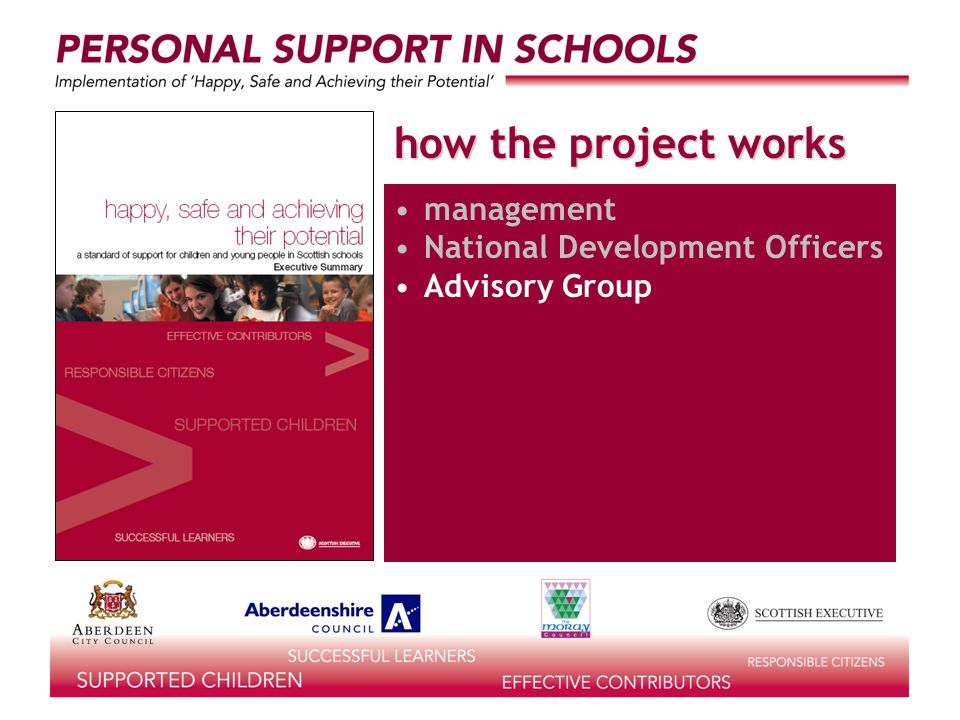 how the project works management National Development Officers Advisory Group