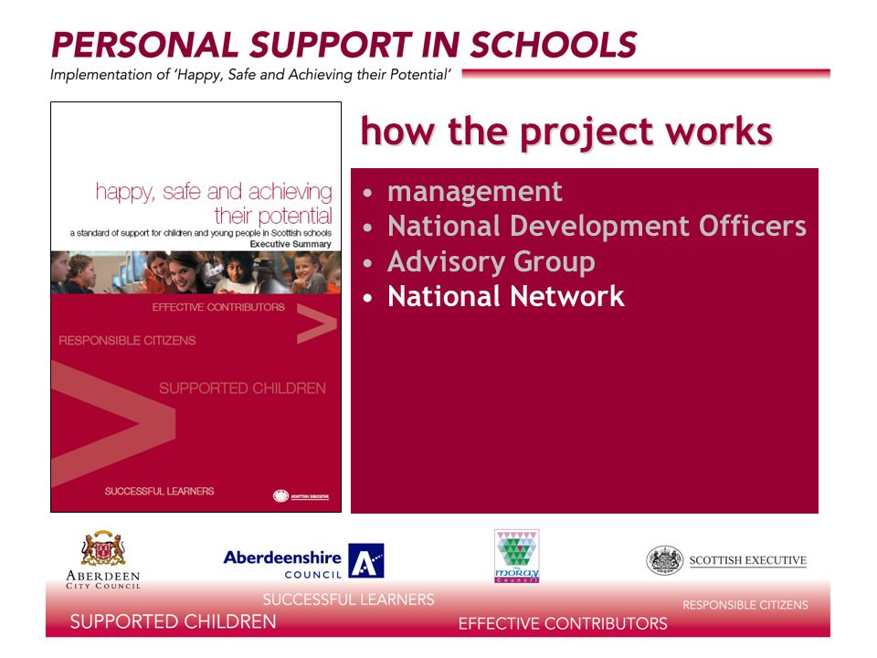 how the project works management National Development Officers Advisory Group National Network