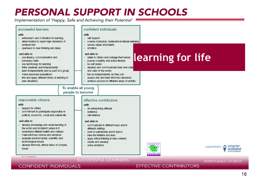 supported by 16 learning for life
