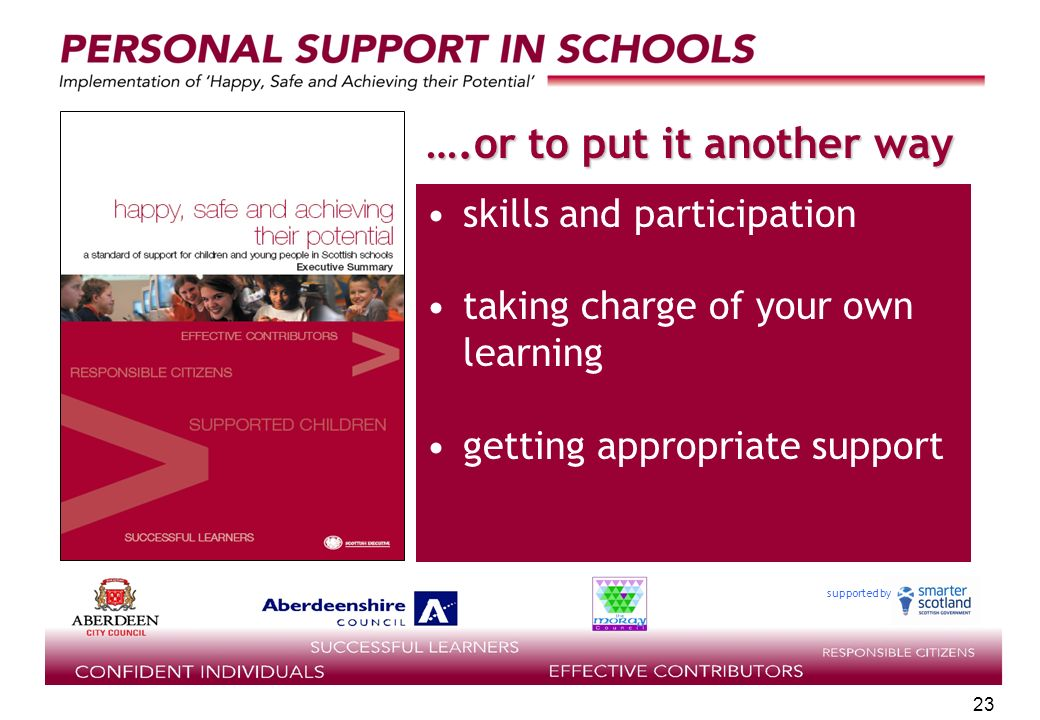 supported by 23 ….or to put it another way skills and participation taking charge of your own learning getting appropriate support
