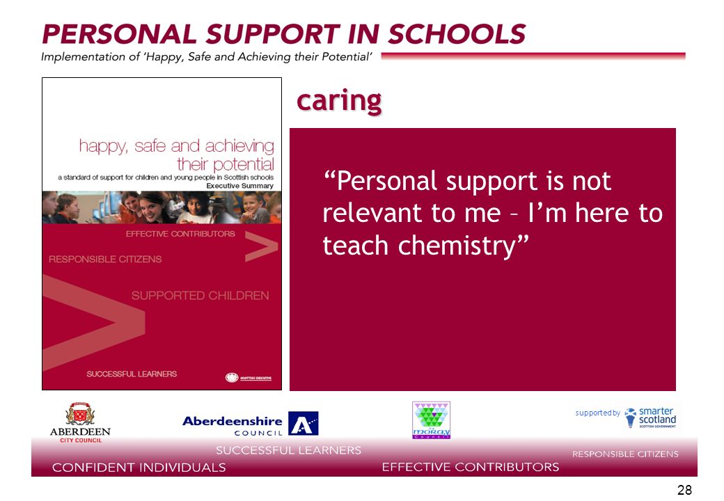 supported by 28 caring Personal support is not relevant to me – Im here to teach chemistry