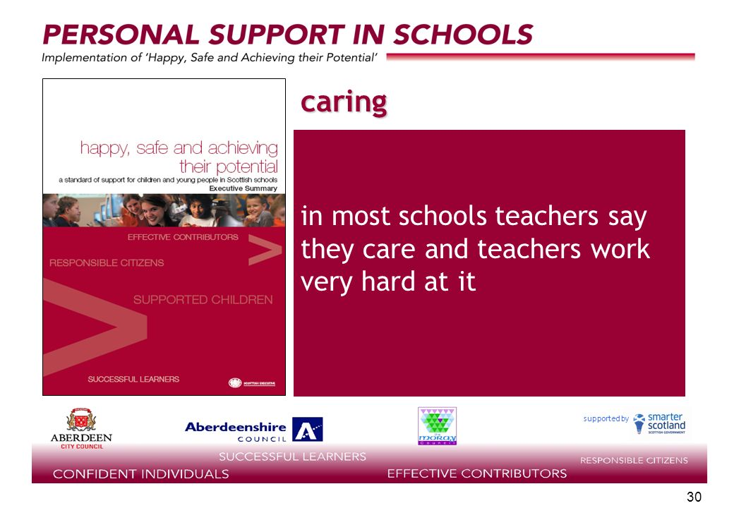supported by 30 caring in most schools teachers say they care and teachers work very hard at it