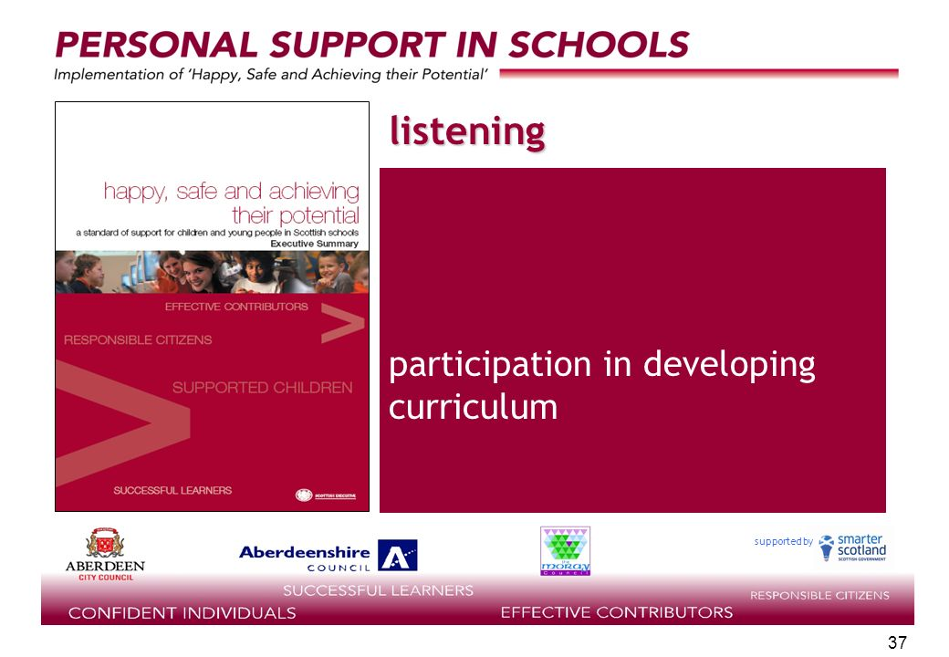 supported by 37 listening participation in developing curriculum