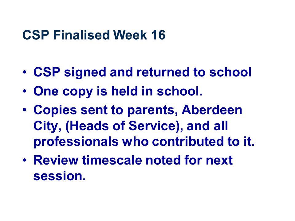 CSP Finalised Week 16 CSP signed and returned to school One copy is held in school.