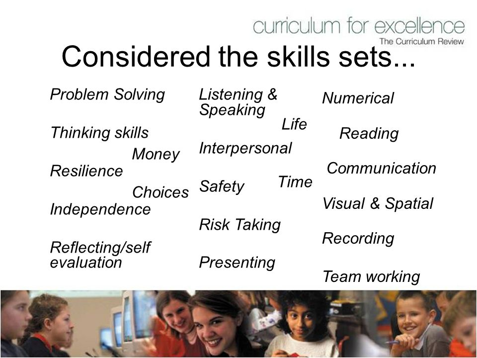 Considered the skills sets... Problem Solving Thinking skills Resilience Independence Reflecting/self evaluation Listening & Speaking Interpersonal Sa