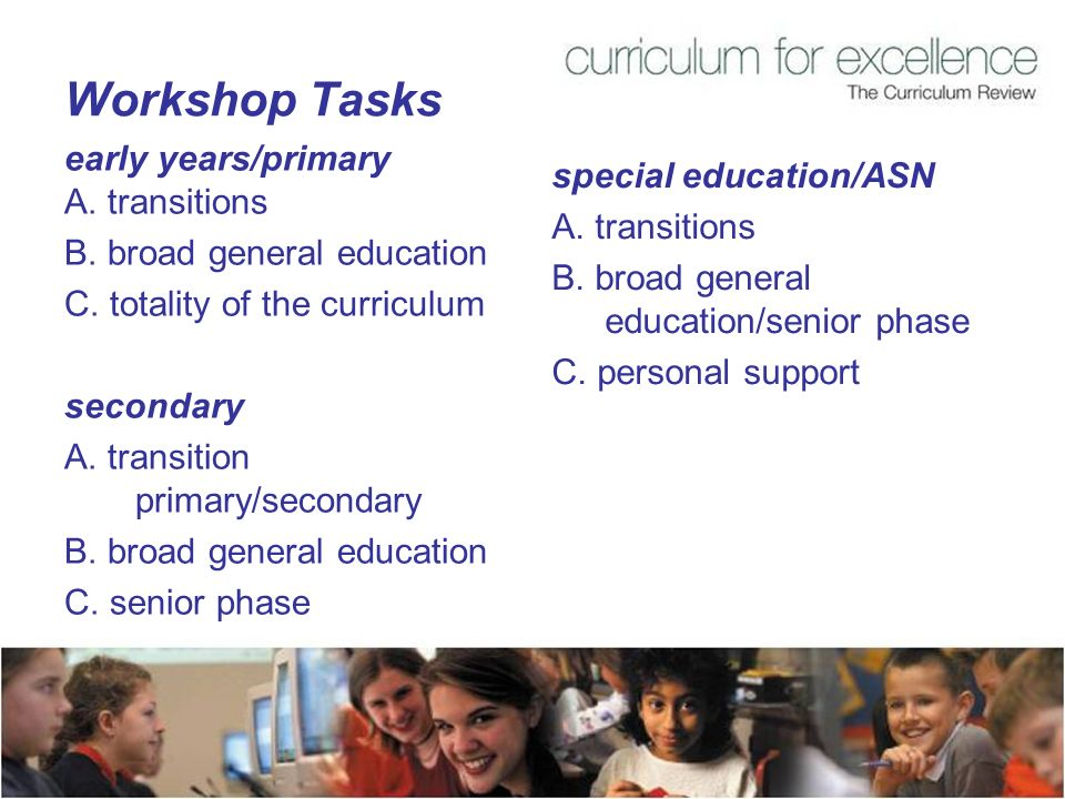 Workshop Tasks early years/primary A. transitions B.