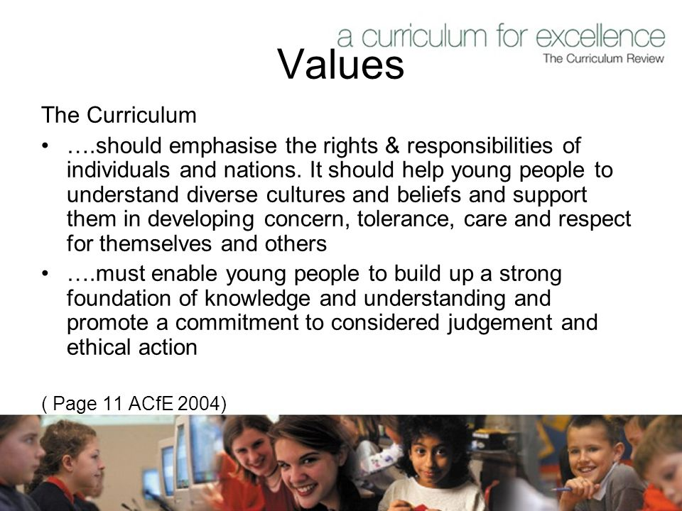 Values The Curriculum ….should emphasise the rights & responsibilities of individuals and nations.